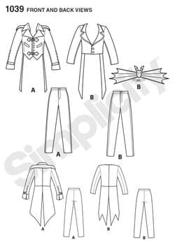 1039 Simplicity Pattern: Men's Cosplay Costumes